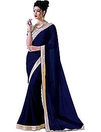 Bhavna Creation Women's Faux Georgette Navy Blue Saree ( New_year_navy )