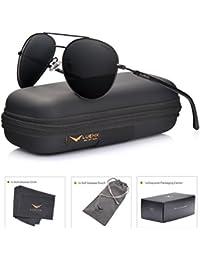 LUENX Uomo occhiali da sole Aviatore Polarizzate di guida con il caso - Protezione UV 400 Specchio HD Lenti metallo Telaio 60mm