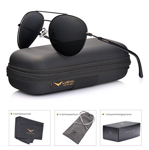 LUENX Herren Sonnenbrille Aviator Polarisiertes Fahren mit Gehäuse - UV 400 Schutz Schwarzer Rahmen Schwarzes Linse 60mm (Schwarze Sonnenbrille Aviator)