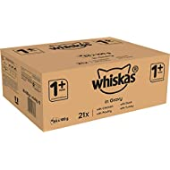 Whiskas 1+ Cat Food Pouches Mixed Selection in Gravy, 100 g (Pack of 84)
