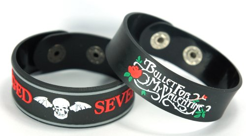 Avenged Sevenfold Bullet For My Valentine 2pcs NEU. Bracciale Wrist Band 2 X 99 A26