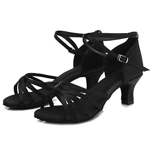 HIPPOSEUS Donne sala da ballo scarpe/scarpe da ballo/scarpe latino raso donne 5CM Nero