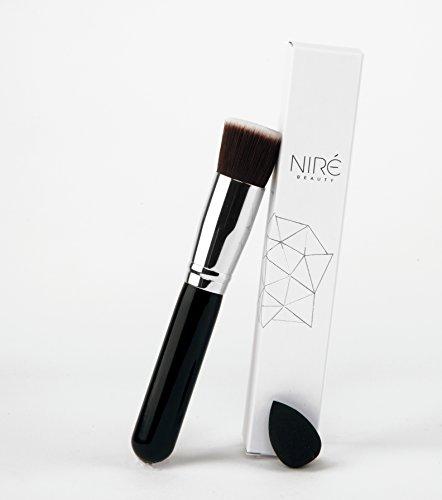 NIRÉ BEAUTY Flat Top HD Kabuki + Mini Beauty Blender (éponge a maquillage)