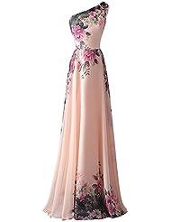 YipGrace Mujeres De Las Elegantes De Un Hombro Vestido De Fiesta Pink M