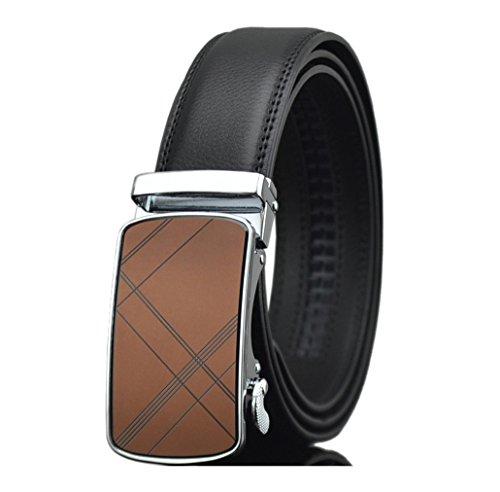 ITIEZY Echtes Leder Gürtel Ratchet Automatik Gürtelschnalle (Gleitschnalle) Gürtel Gürtel für Männer