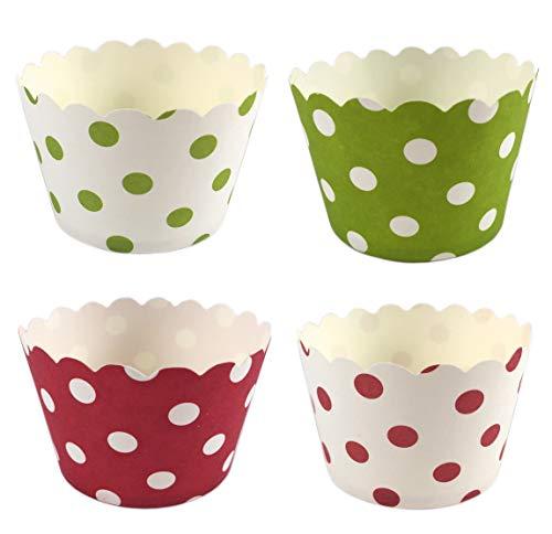 100 Pappförmchen für Muffin, Cupcake, EIS, Dessert - 4 Designs a 25 Stück mit Punkten (Cupcake Party Becher)