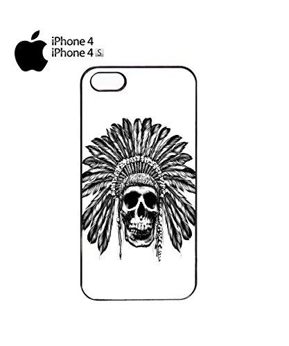 Skull Indian Chief Native Festival Mobile Phone Case Back Cover Coque Housse Etui Noir Blanc pour for iPhone 6 Plus Black Noir
