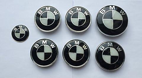 X7Set von 7BMW Schwarz & Weiß Logo-Rad Center Kappen, Kofferraum, Motorhaube & Lenkrad Badges Embleme