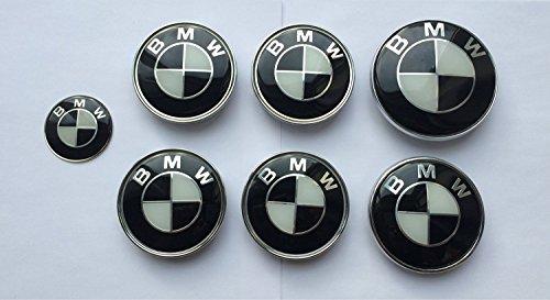 X7Set von 7BMW Schwarz & Weiß Logo-Rad Center Kappen, Kofferraum, Motorhaube & Lenkrad Badges Embleme BMW (Schwarz Logo Und Weiß)