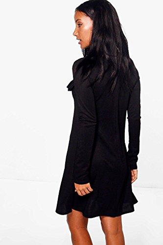 Zimt Damen Quinn Geripptes, Ausgestelltes Kleid Mit Rüschen Zimt