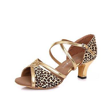 Silence @ Chaussures de danse pour femme en cuir Cuir Latin/Salsa talons Stiletto Talon Practise Noir/doré/léopard Noir/doré