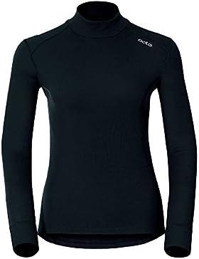 Odlo L/S Turtle Neck Camiseta Térmica, Mujer, Negro, L