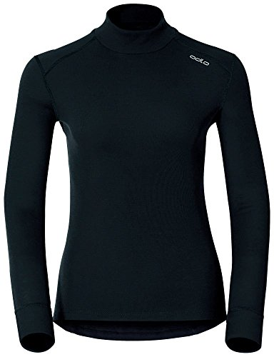 Odlo Damen T-ShirtL/S Turtle Neck Active Originals W Unterhemd T-Shirt, Schwarz (black),XS Turtle Fur Fleece