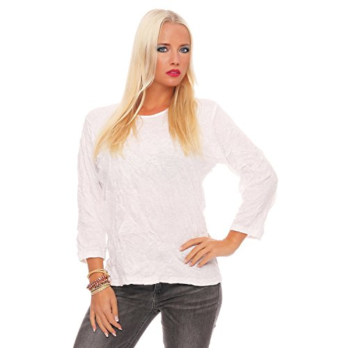 Zarmexx Damen Langarm Shirt Crash Optik Crinkle Baumwollshirt Oberteil viele Farben (XL≙42, Weiß)