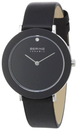 Bering Time 11435-442 - Reloj analógico de cuarzo unisex con correa de piel, color negro