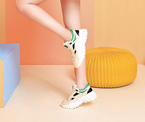 CAMEL CROWN Chunky Basket Femme Cuir Véritable Patchwork Maille Marche Voyage Mode Daddy Chaussures Junior Blanch Trainers