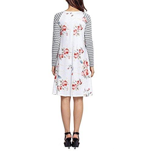 Frauen-Blumendruck-Kleid,Simonabo lange Hülse gestreifte Strand-Partei-Kleider Weiß