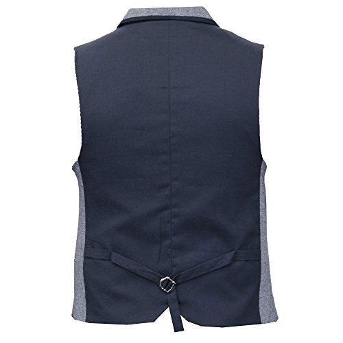 Gilet Pour Hommes Mélange Laine Velours Côtelé Cavani Habillé Gilet Tweed Chevron Carreaux Fête Bleu - VIENNA