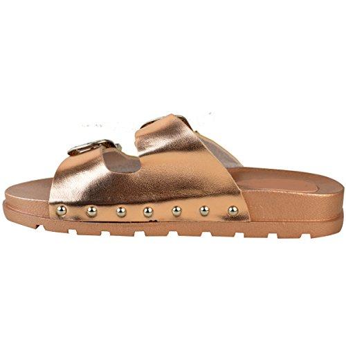 Fashion Thirsty heelberry Donna Love Basse Passanti Casual Pantofole Sandali Slip-On Misura Scarpe Basse - Rosa Dorato Metallizzato, 38