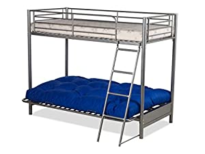 FUTON BUNK BED and with lilac futon mattress (top mattress at extra cost)