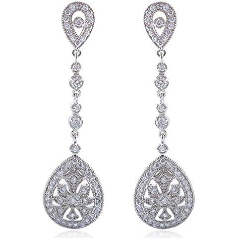 Ever Faith - Orecchini pendenti classici art deco stile Gatsby con pavè di zirconi, da sposa