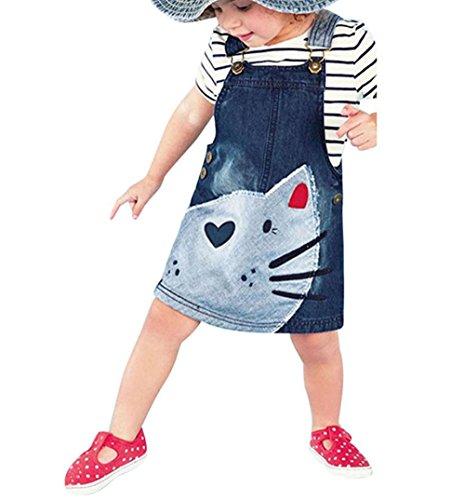 Hirolan Kleinkind Denim Riemen Kleid Outfits (120cm, Blau) (Tasche Plaid Anzug Zwei)