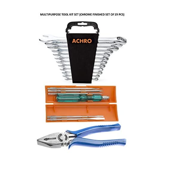 ACHRO 919 Universal Tool Kit Set for Home/Garage/Car/Bike/Industry (Set of 19 pcs Tool kit) Contains 6 Pcs Screwdriver Set + 12 Pcs Combination Spanner Set + 8 inch Combination Plier