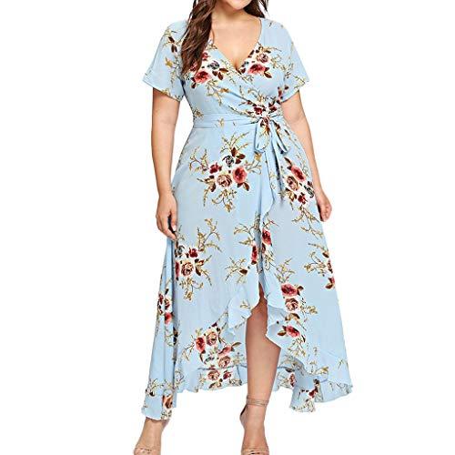 iHENGH Damen Frühling Sommer Rock Bequem Lässig Mode Kleider Frauen Röcke Plus Size Frauen Casual Kurzarm V-Ausschnitt Boho Blume böhmischen Party Maxi-Kleid(Blau, 2XL)