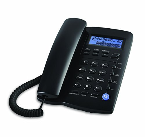 Ornin Y043 Corded Desk Telephone with Speakerphone, Basic Calculater and Caller ID, Black