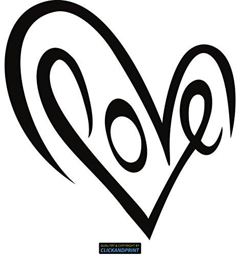 CLICKANDPRINT Aufkleber » Love Herz, 10x9,6cm, Schwarz • Dekoaufkleber/Autoaufkleber/Sticker/Decal/Vinyl