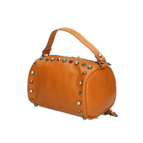 Chicca Borse Borsa a mano in pelle 18x12x12 100% Genuine Leather Cuoio