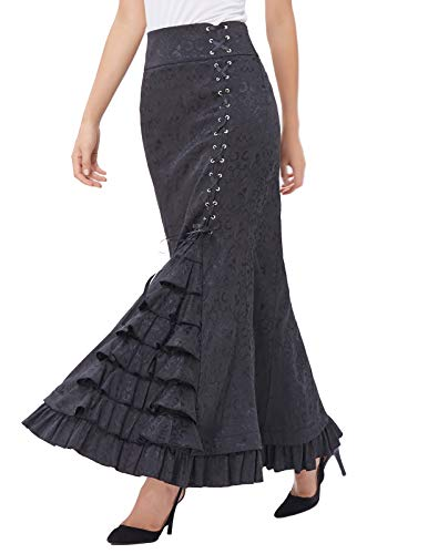 Belle Poque Damen Retro Viktorianisch Gothic Jacquard Maxi Party Rock 42 Schwarz BP204-1