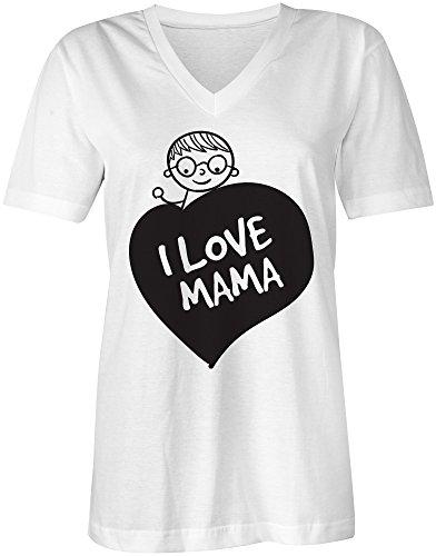 I Love Mama ★ V-Neck T-Shirt Frauen-Damen ★ hochwertig bedruckt mit lustigem Spruch ★ Die perfekte Geschenk-Idee (02) weiss