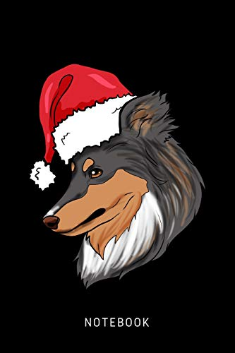 Notebook: Happy Shetland Sheepdog Dog Wearing A Christmas Hat -