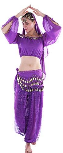 nzerin Kinderkostüm Damen Orientalische Bauchtanz Fasching-Kostüme Chiffon (Jasmin Kostüme Für Erwachsene)