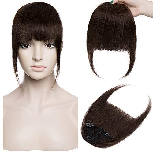 Silk-co Pony Haarteil Echthaar Dunkelbraun #2 Clip in pony - Extensions Echthaar Haarteil Haarverlängerung mit Tempel Ein Stück 25g