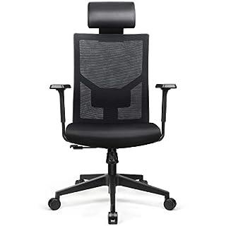 amzdeal Bürostuhl Ergonomischer Schreibtischstuhl mit Verstellbare PU Kopfstütze und Armlehne, Bürodrehstuhl mit Taillenkissen und Wippfunktion, Belastbar bis 136kg