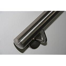 Pasamanos de acero inoxidable V2A de 42,4mm pulido en grano 240, pasamanos de pared de dividido con tapas ligeramente curvadas