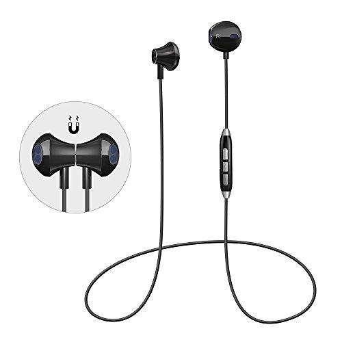 Bluetooth Sport Kopfhörer Magnetische Bluetooth Headset 4.1 Kabellos Stereo DSP Lärmreduzierung Wireless Kopfhörer Lebensdauergarantie mit Mikrofon schweißfeste Joggen Kopfhörer für iPhone Android Samsung iPad usw (Schwarz)