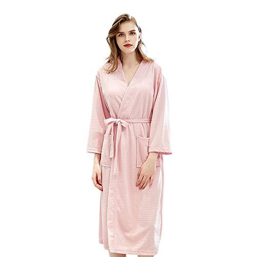 Elonglin Bademantel Kimono für Herren und Damen, Unisex, leicht, für Spa Hotel, weiche Waffel-Bademäntel Gr. X-Large, Pink Women -