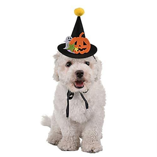 Stock Show Tierhut mit Schnur und Bommel Topper für Hunde und Katzen, Halloween, Hexenhut mit Kürbis und Geisterdeko, für Welpen, Katzen, Kostüm, Zubehör für Hunde und Katzen