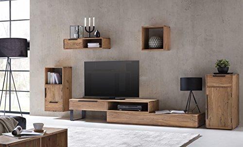 Woodkings Wohnwand Auckland 5teilig Akazie, Lowboard TV-Bank variabel erweiterbar, Kommode,...