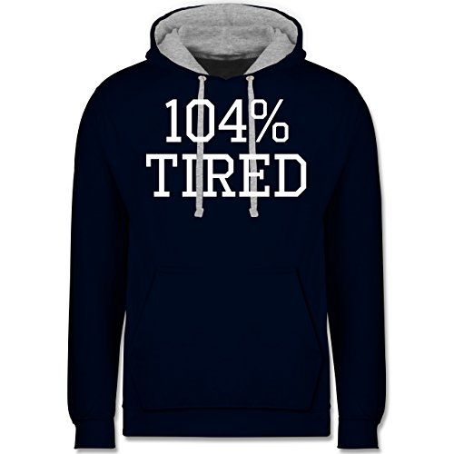 Statement Shirts - 104% tired - Kontrast Hoodie Dunkelblau/Grau meliert