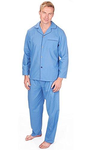 Mens, Die Traditionelle PJ Schlafanzüge Sets Nachtbekleidung PJ 2-teilig Pyjama Set Herren M-XXL Blue Woven Poplin