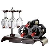 ZXX-wr Dekoratives Weinregal 3 Flaschen, 6 Rotweingläser, Individuell Dekoriert, Einzigartiges Zuhause Oder Küche Handgeschnitzte Schmiedeeisen