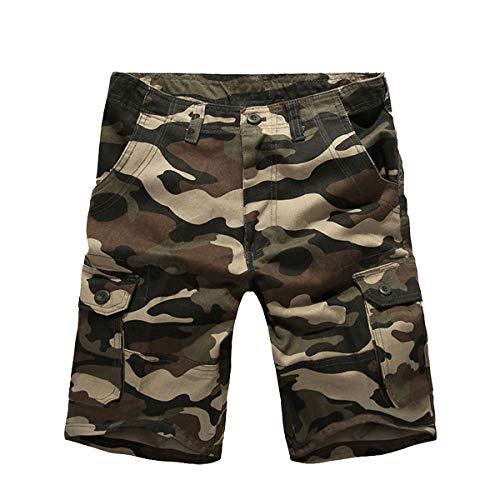 iCKER Herren Cargo Shorts Herren Shorts Kurze Camo Hosen Camouflage Cargo Shorts Herren Classics Vintage Kurz Freizeithose Regular Fit - Camouflage Cargo Hose