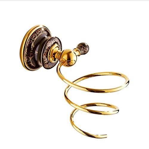 LD&P Accesorios para secadoras de cabello, Organización de almacenamiento de cuarto de baño, Color dorado Multifunción Material de cobre completo Estante para secador de pelo Baño Hardware colgante