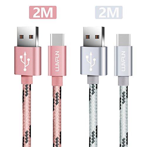Luvfun [2-Pack] USB Type C Kabel, 2m Nylon Geflochten USB 3.0 Type C Kabel USB-C auf USB-A 3.0 Ladekabel Datenkabel (Roségold+Silber)
