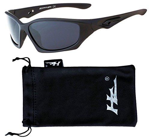 Hornz HZ Serie Profi - Prämie Polarisierte Sonnenbrillen Mattschwarzes Feld - Dunkles Rauch-Objektiv (Rauch Blau Objektiv)