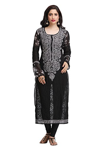 ADA Hand Embroidered Lucknow Chikan Casual Wear Faux Georgette Kurta Kurti A160775
